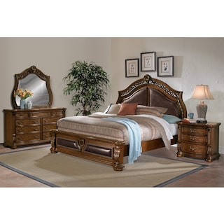 Morocco 6-Piece King Bedroom Set - Pecan