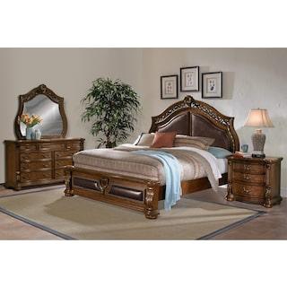 Morocco 6-Piece Queen Upholstered Bedroom Set - Pecan