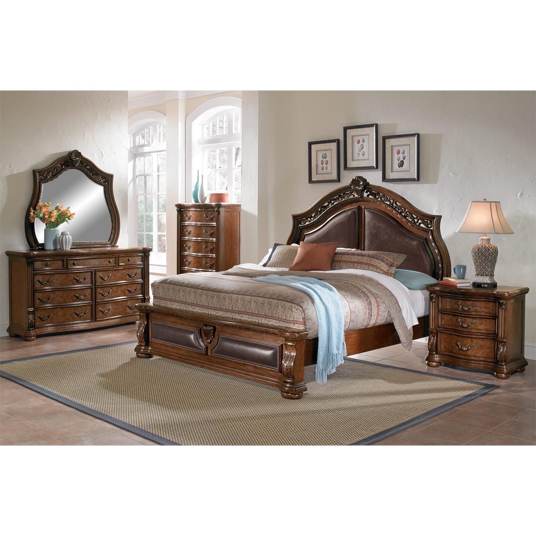 Morocco queen upholstered bed pecan american signature - American signature furniture bedroom sets ...