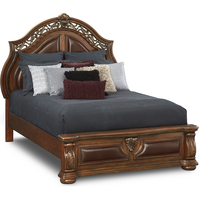 Bedroom Furniture - Morocco Queen Bed - Pecan