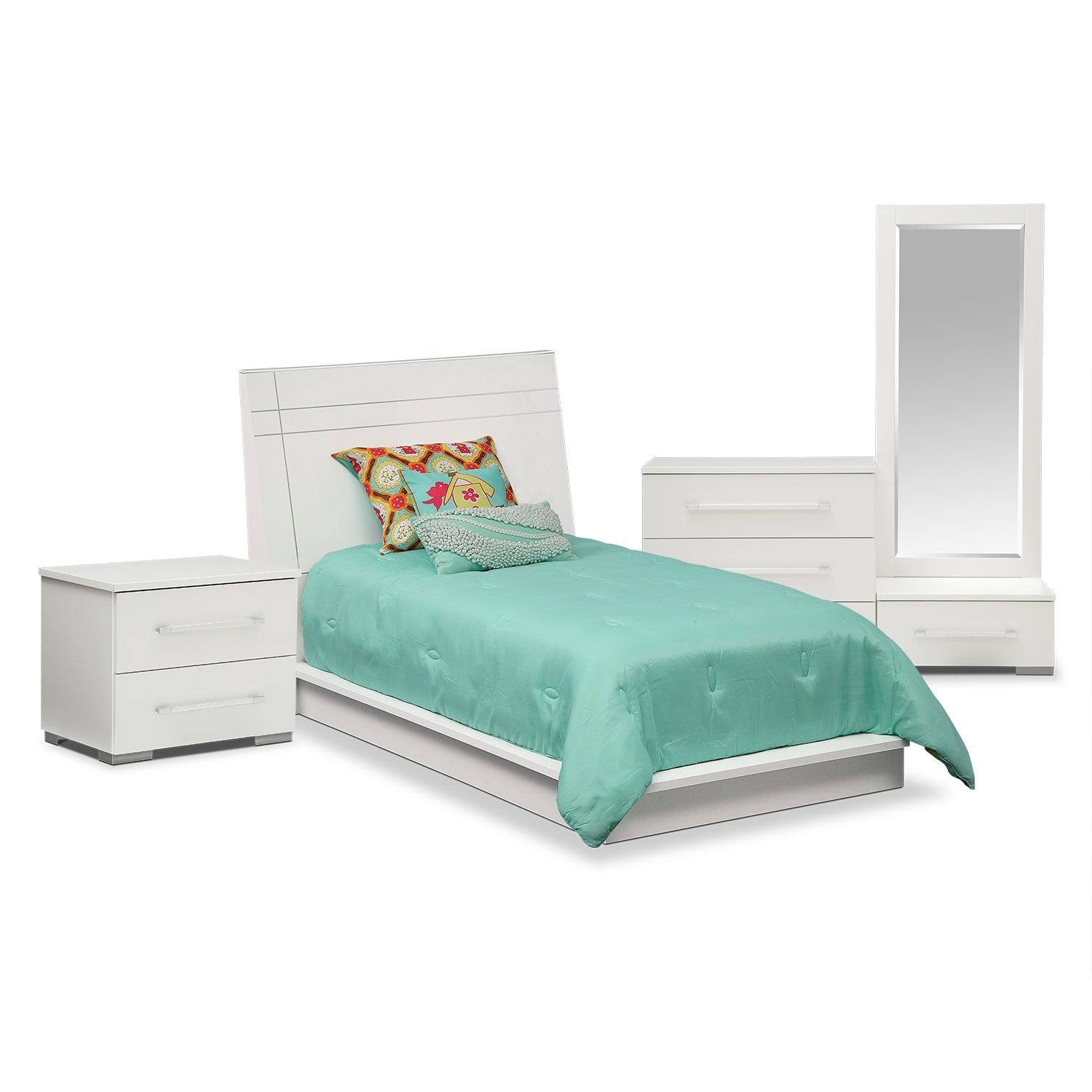 Bedroom Furniture - Dimora White II 6 Pc. Twin Bedroom (Alternate)