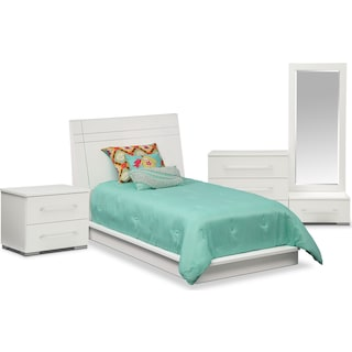 Dimora 6-Piece Twin Panel Bedroom Set - White