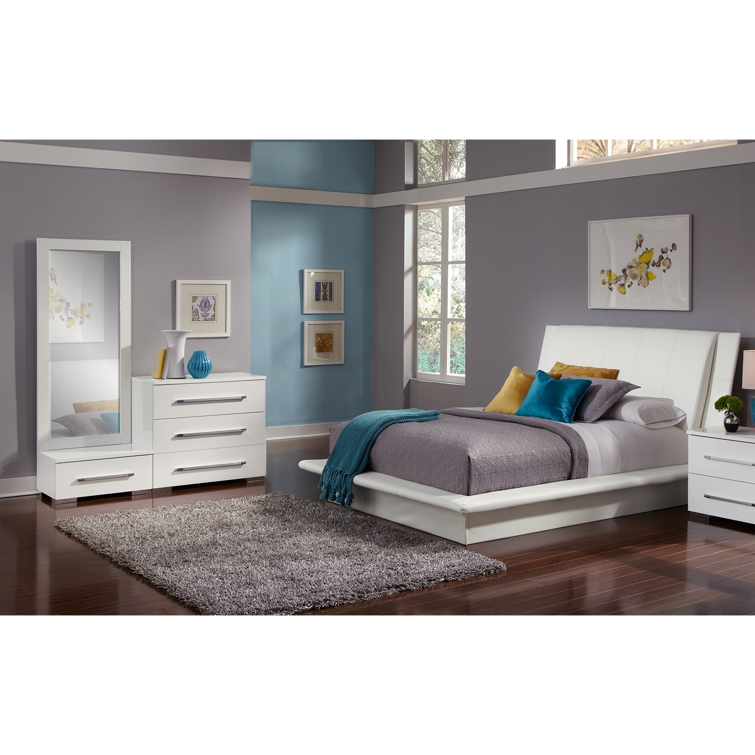 Dimora 5 Piece Queen Upholstered Bedroom Set White American Signature Fur