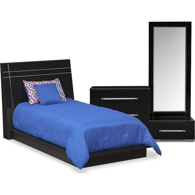 Kids Furniture - Dimora 5-Piece Twin Panel Bedroom Set - Black