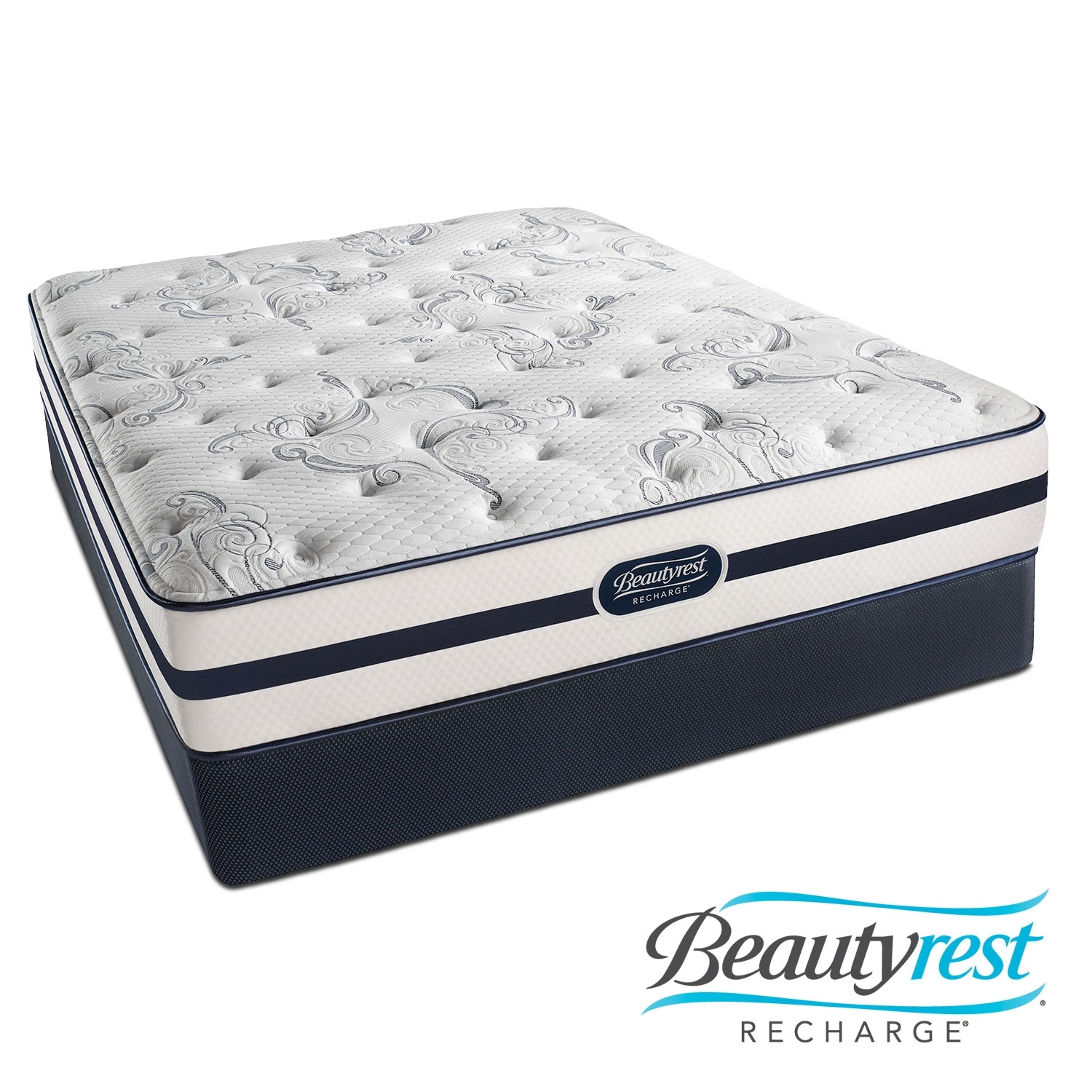 Mattresses and Bedding - Justine Plush Queen Mattress/Low Profile Foundation Set