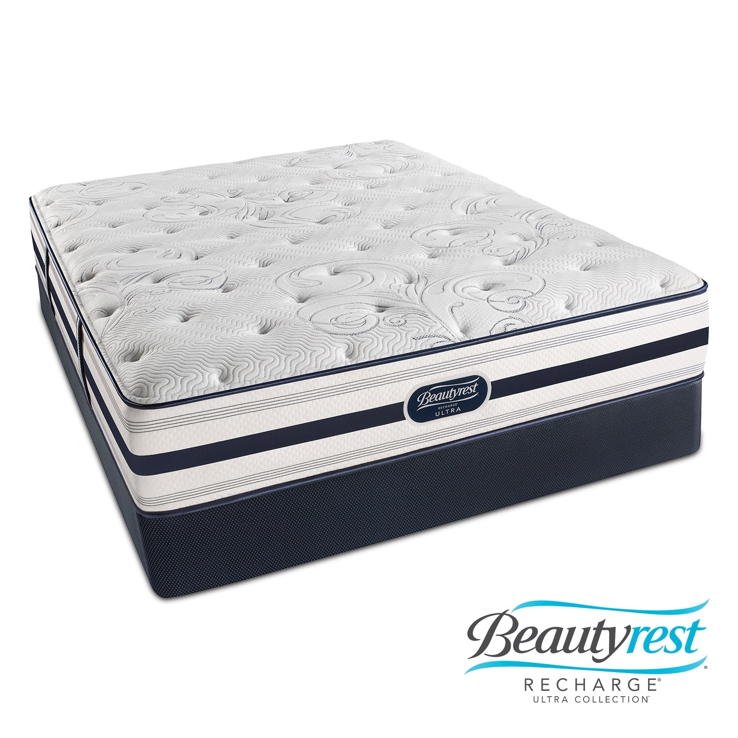 Mattresses and Bedding - Cerise Plush King Mattress/Split Low-Profile Foundation Set