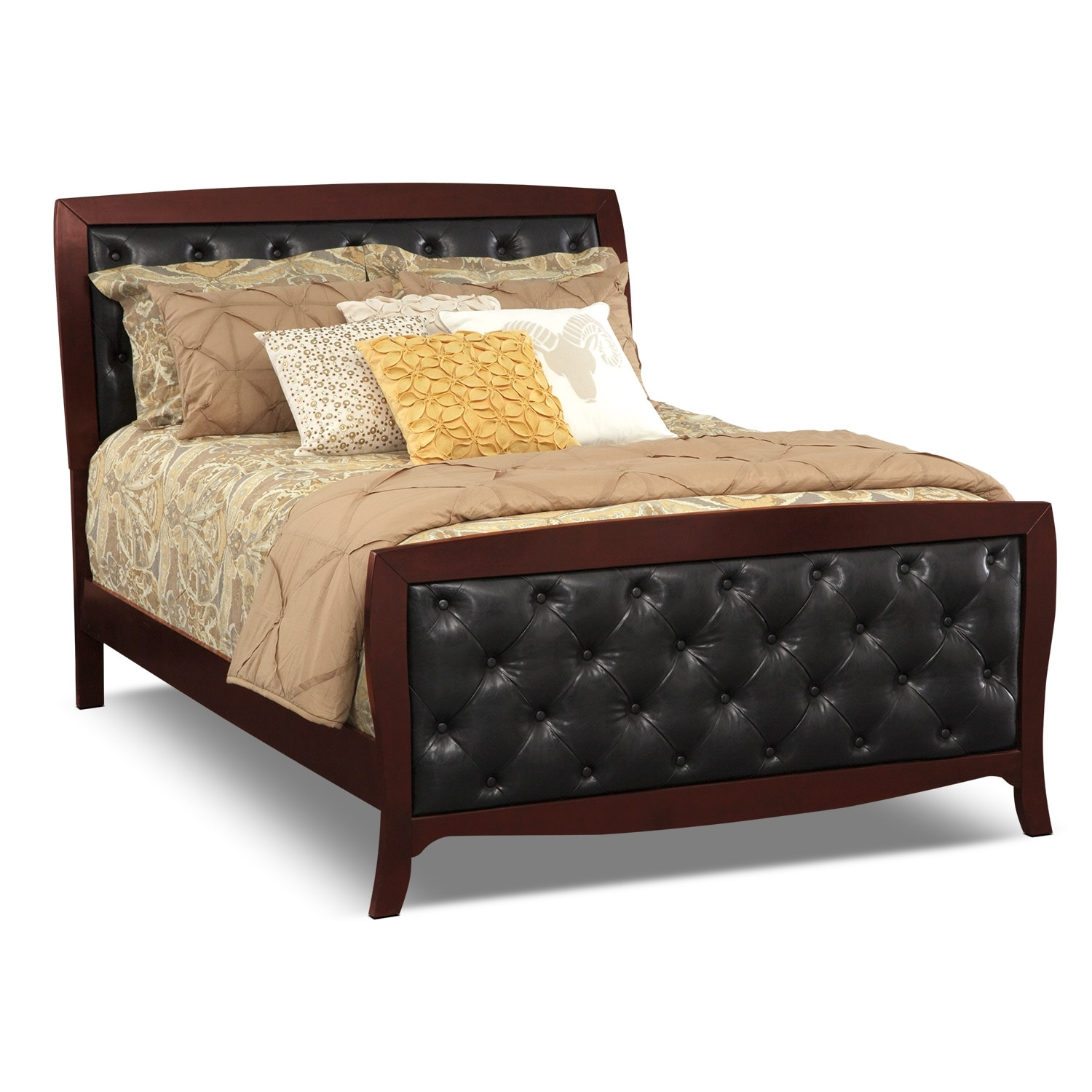 Jaden King Tufted Bed - Merlot | American Signature Furniture