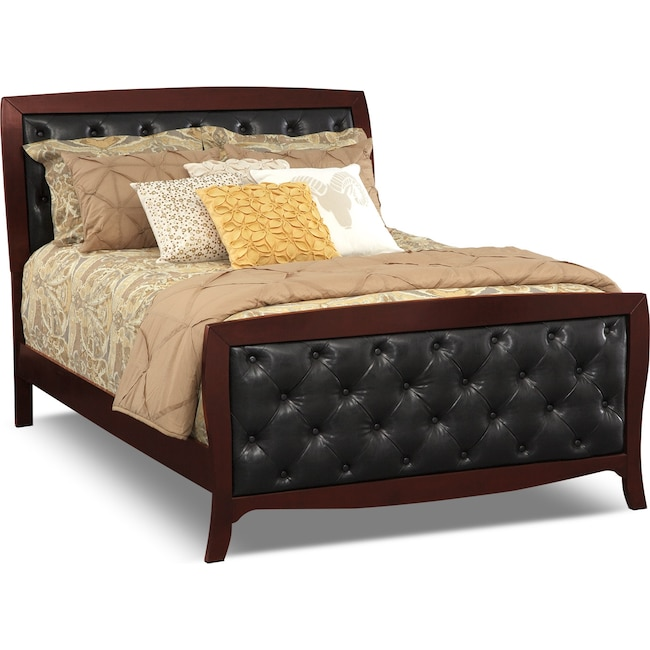Bedroom Furniture - Jaden King Tufted Bed - Merlot