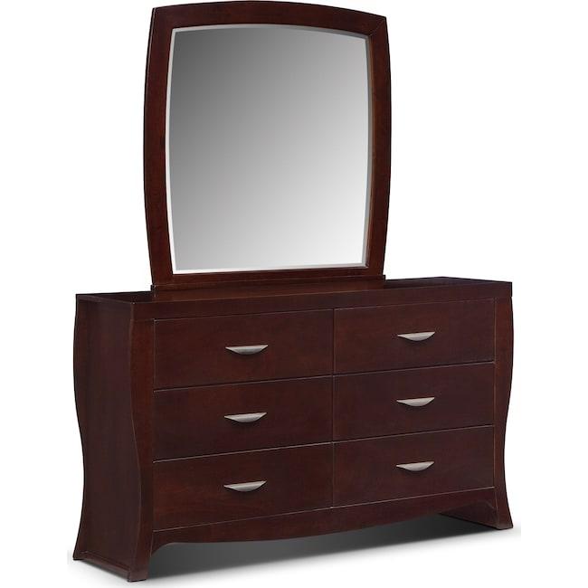 Bedroom Furniture - Jaden Dresser and Mirror - Merlot