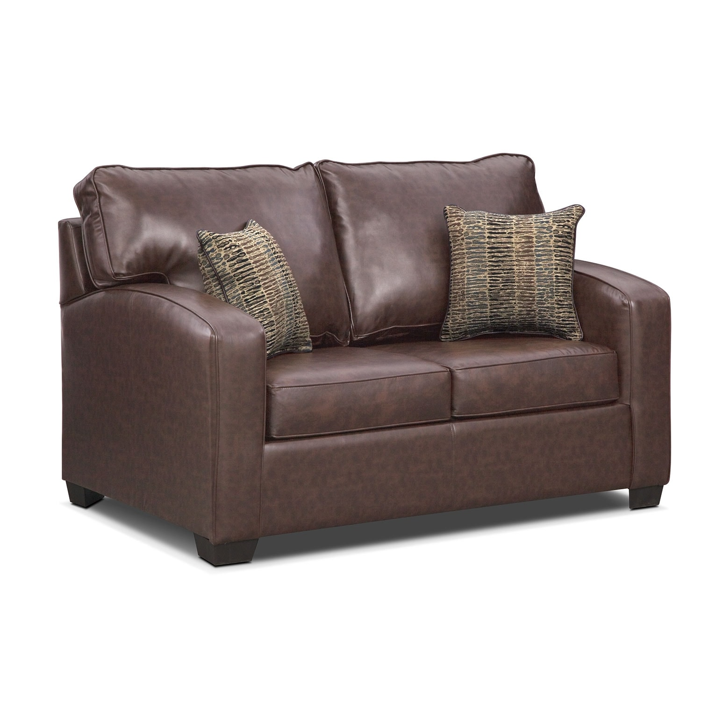Living Room Furniture - Brookline Twin Memory Foam Sleeper Sofa - Brown