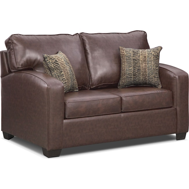 Living Room Furniture - Brookline Twin Memory Foam Sleeper Sofa - Brown