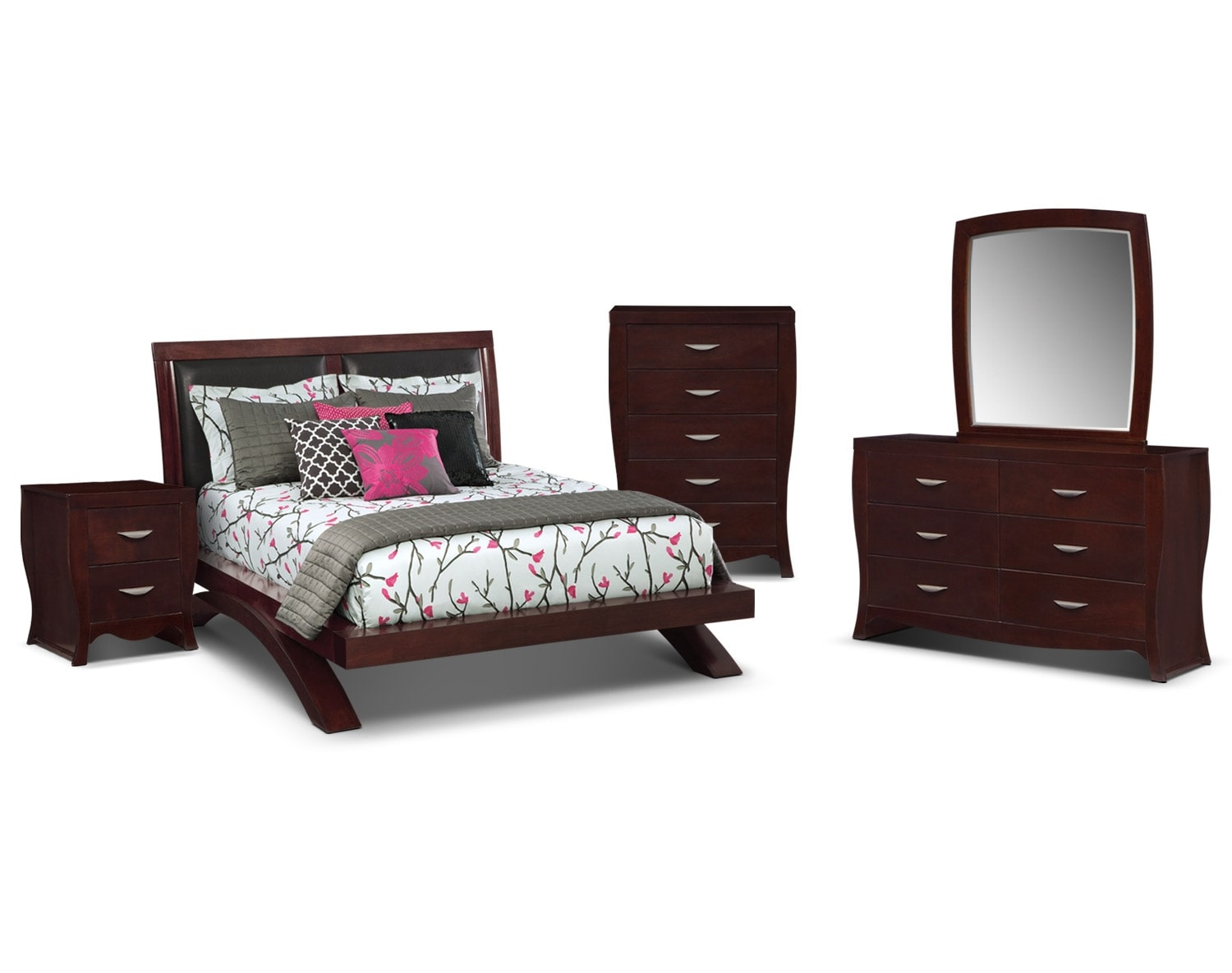 The Jaden Upholstered Arch Bedroom Collection   Merlot