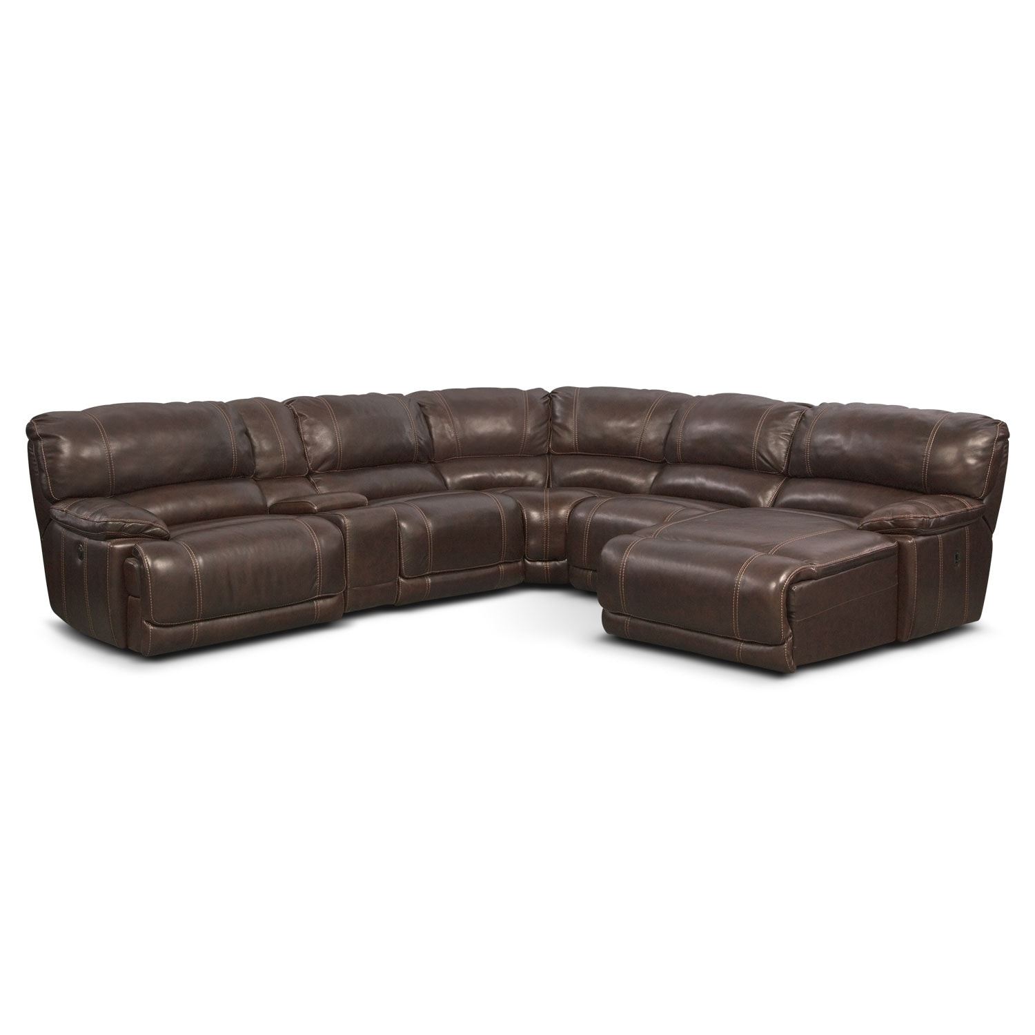 Living Room Furniture - St. Malo 6-Piece Power Reclining Sectional with Right-Facing Chaise - Brown