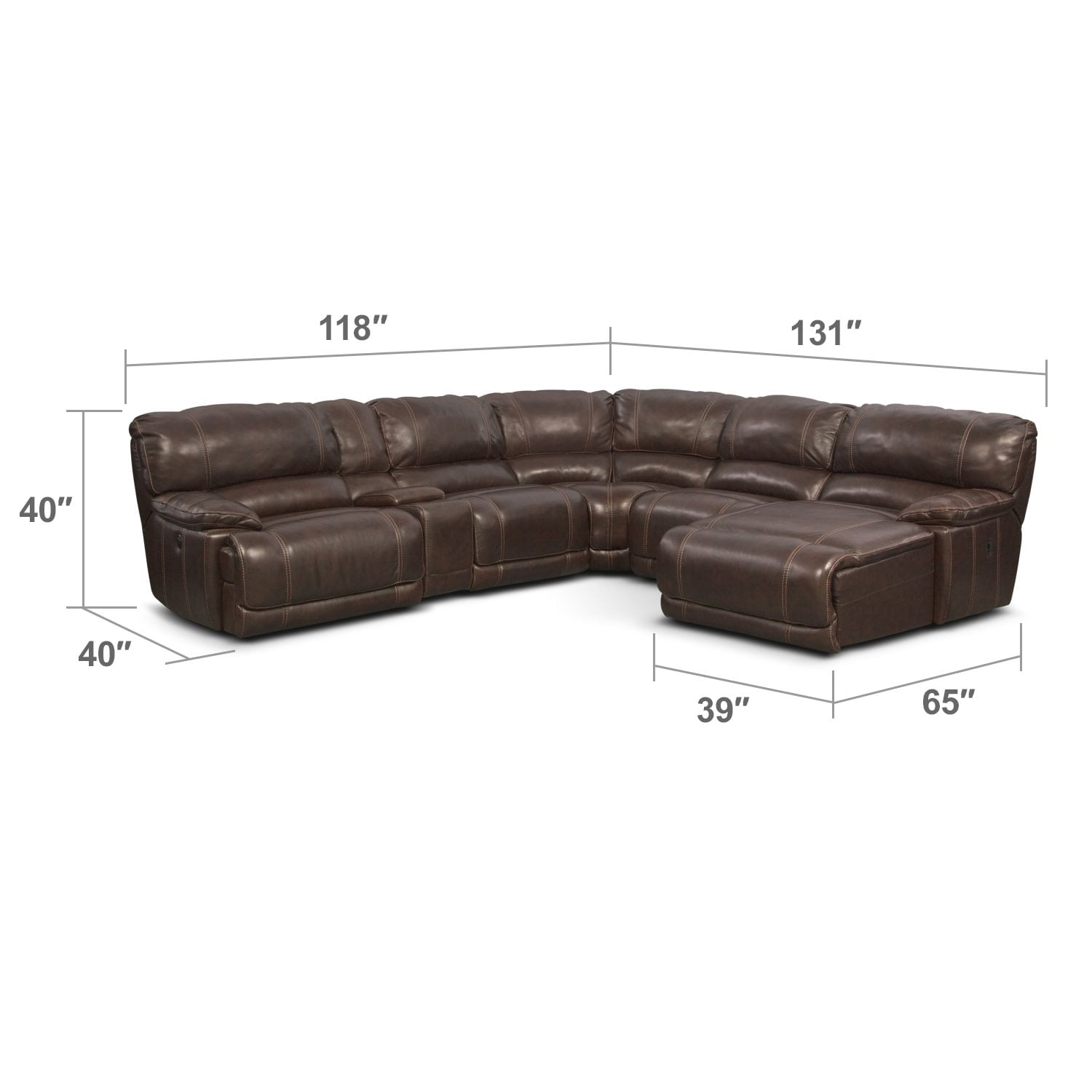 Living Room Furniture - St. Malo 6-Piece Right-Facing Power Reclining Sectional - Brown