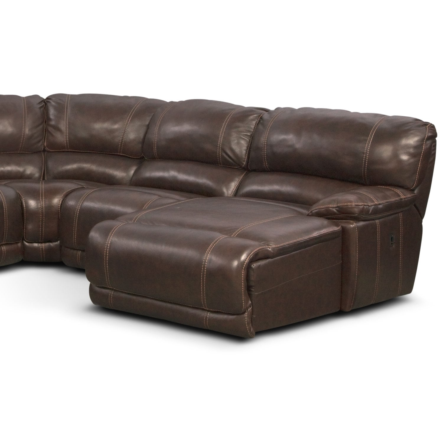 St malo 6 piece power reclining sectional with right for Brown sectional sofa with chaise