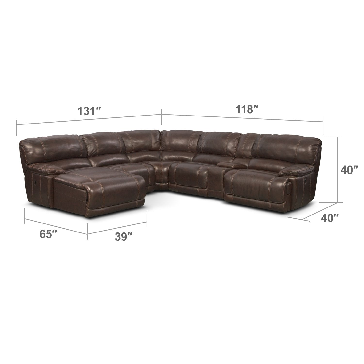 Midori 6 Pc Leather Power Reclining Sectional Sofa: St. Malo 6-Piece Power Reclining Sectional With Left