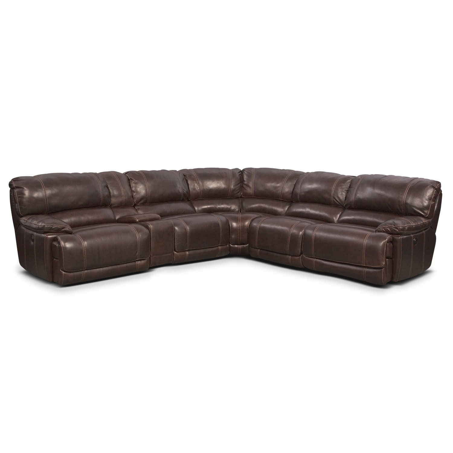 St. Malo 6-Piece Power Reclining Sectional with Modular Console - Brown