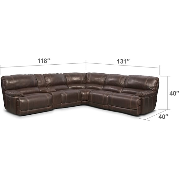Living Room Furniture - St. Malo 6-Piece Power Reclining Sectional with Modular Console