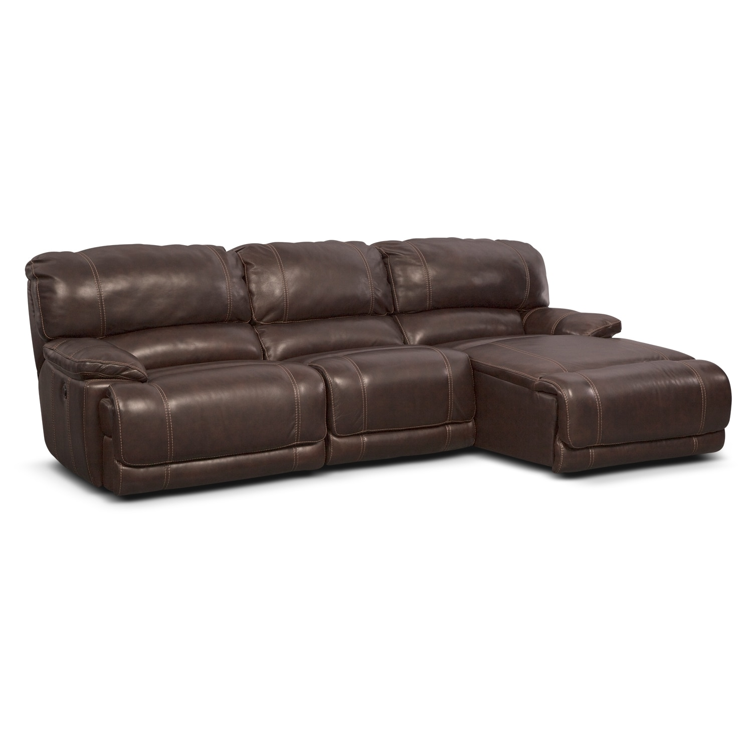 St malo 3 piece power reclining sectional with right for Brown chaise sofa