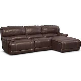 St. Malo 3-Piece Power Reclining Sectional with Right-Facing Chaise - Brown