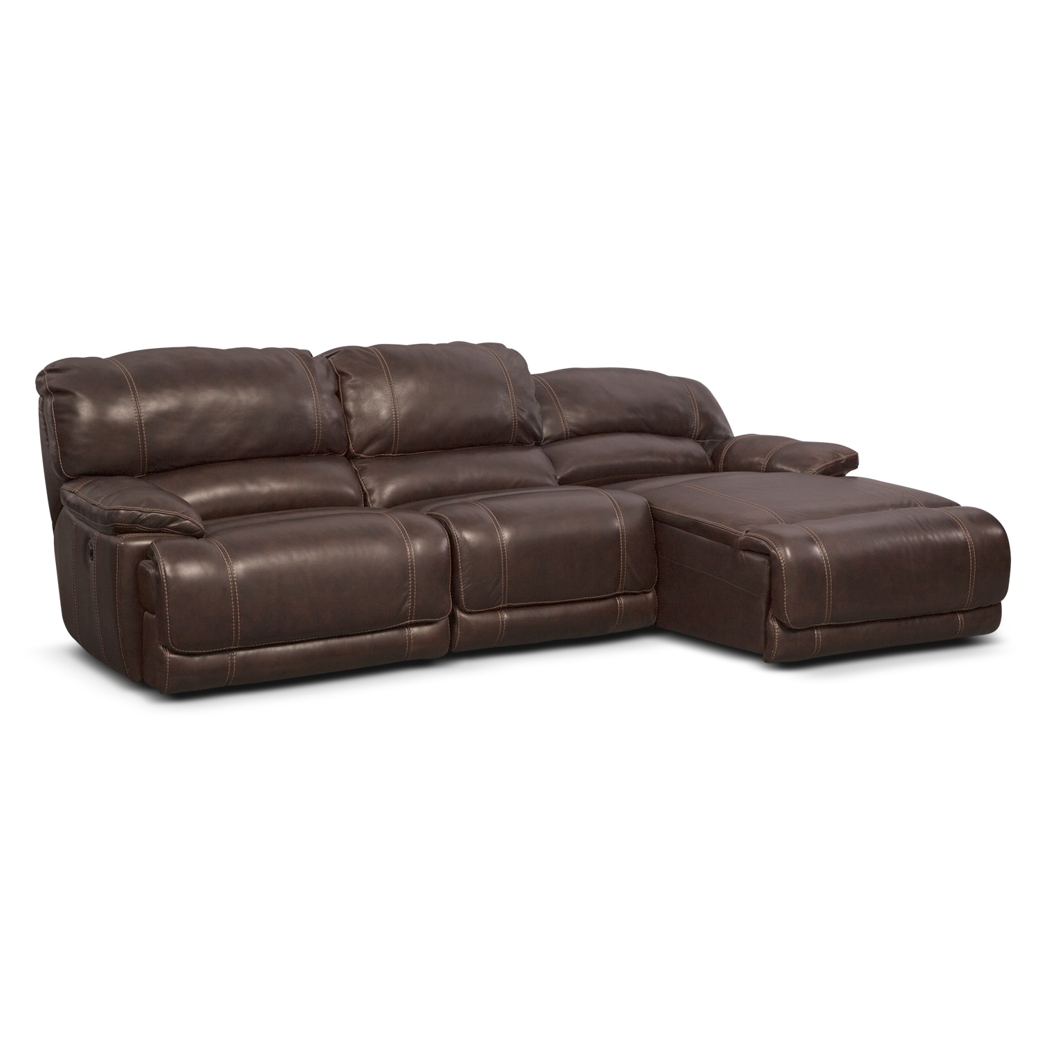 St malo 3 piece power reclining sectional with right for Brown sectionals with chaise