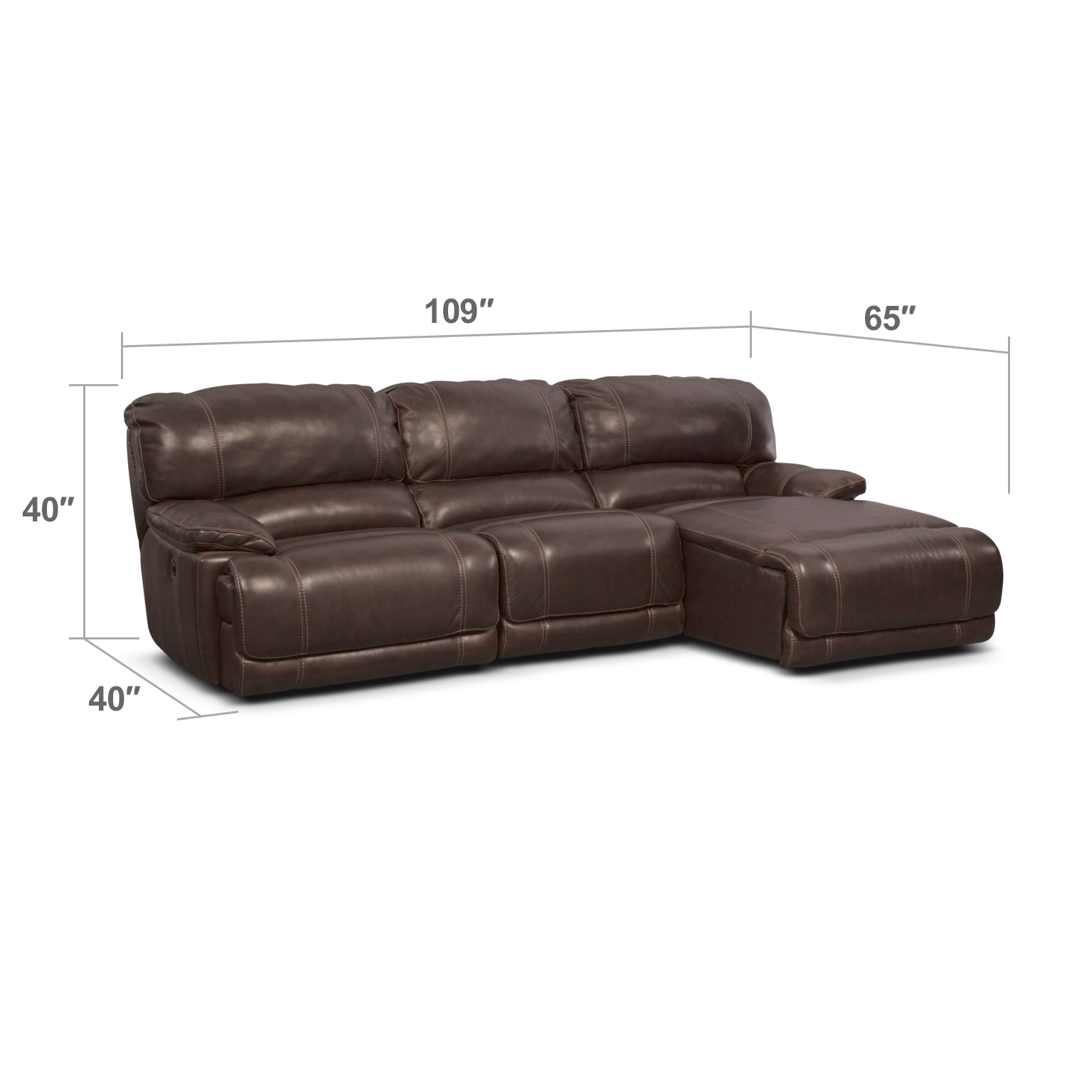 Living Room Furniture - St. Malo 3-Piece Power Reclining Sectional with Right-Facing Chaise - Brown