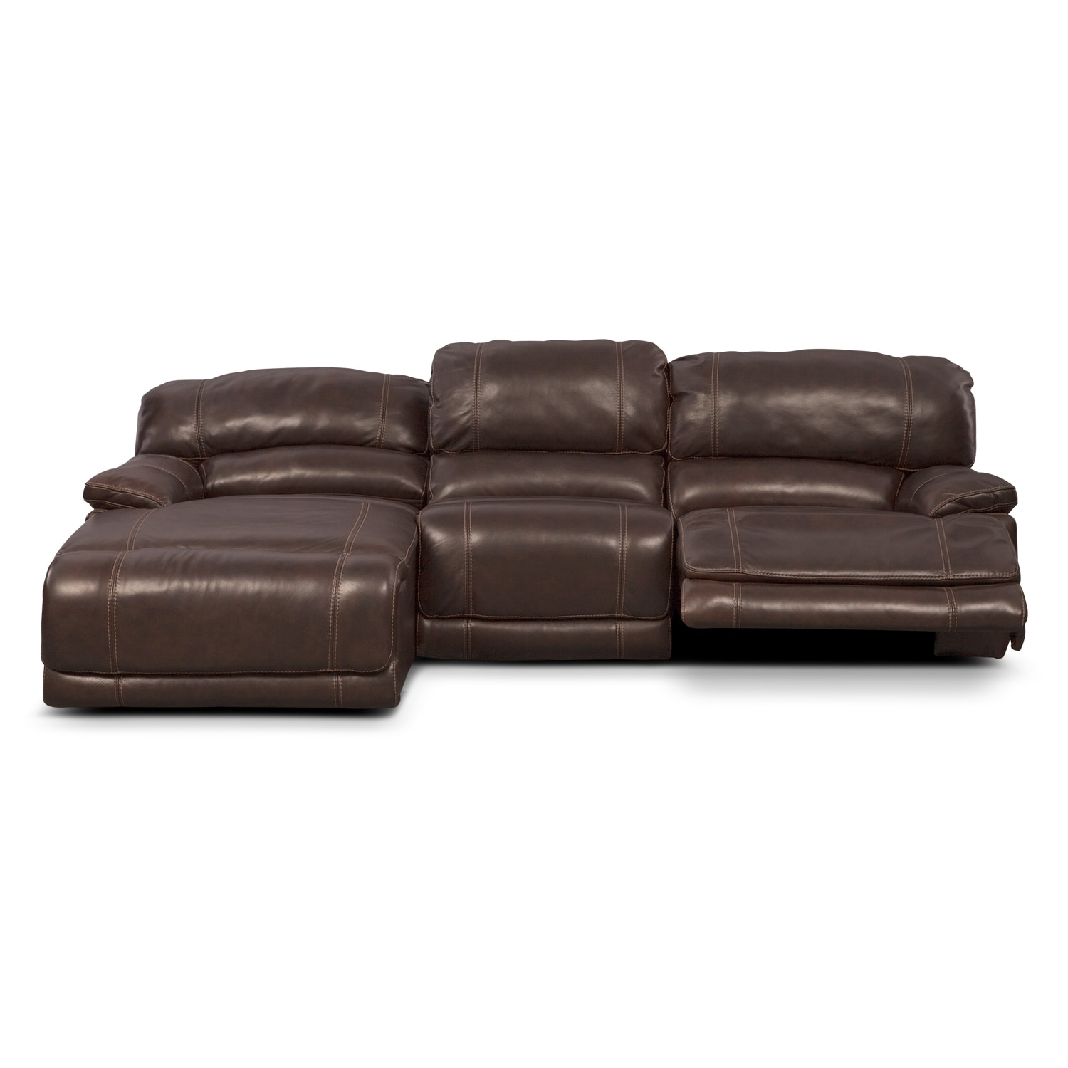 St malo 3 piece power reclining sectional with left for Brown sectional with chaise