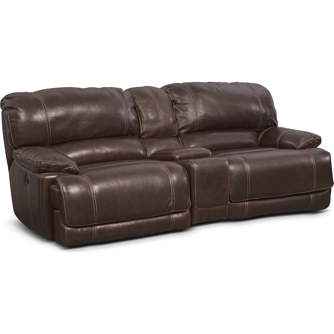Living Room Furniture - St. Malo Power Reclining Sofa with Console - Brown