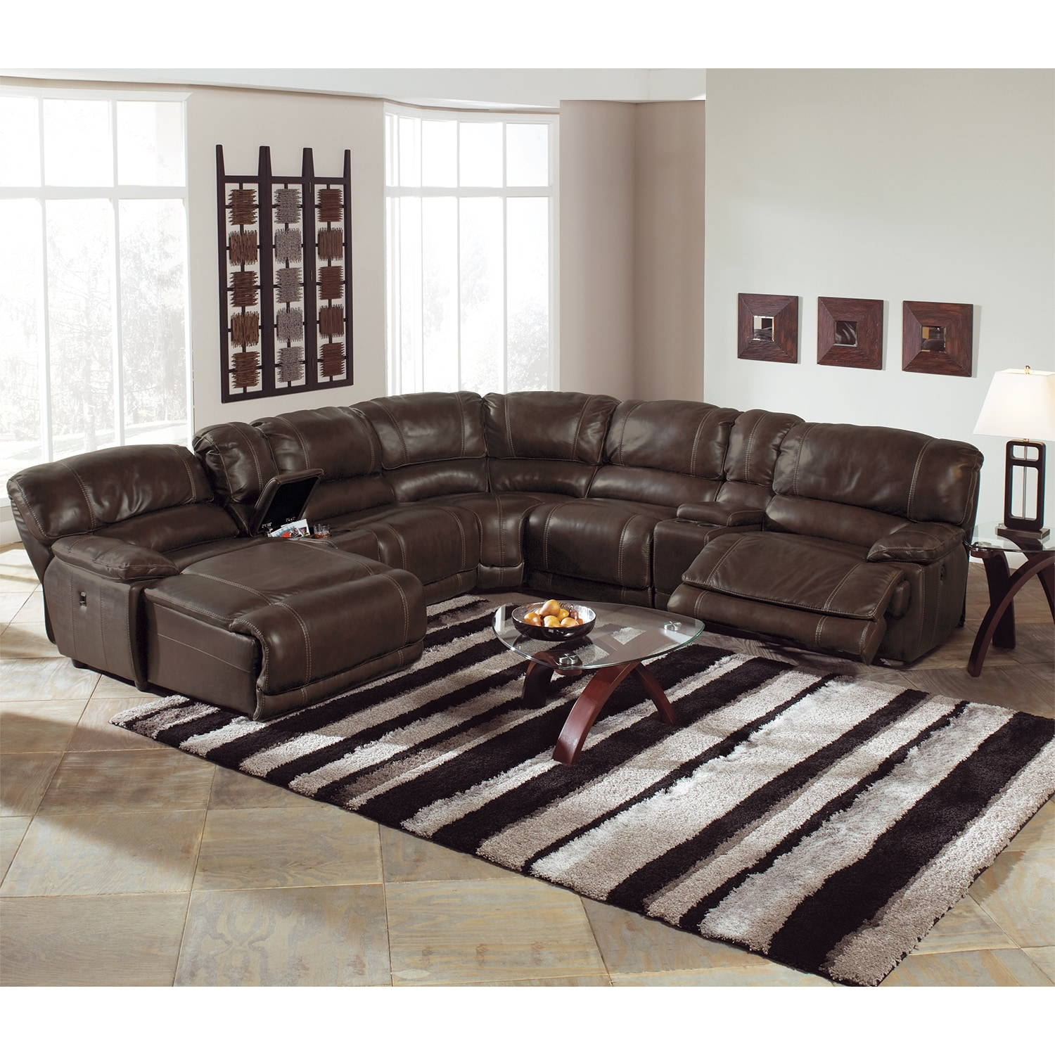 St malo 6 piece power reclining sectional with left for Brown sectional sofa with chaise
