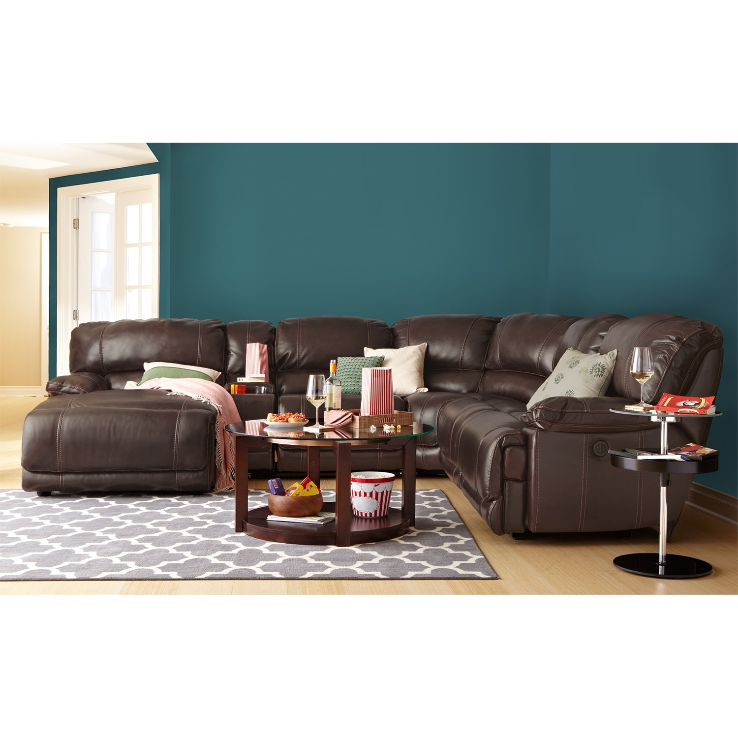 St Malo Leather 6 Pc Power Reclining Sectional Reverse