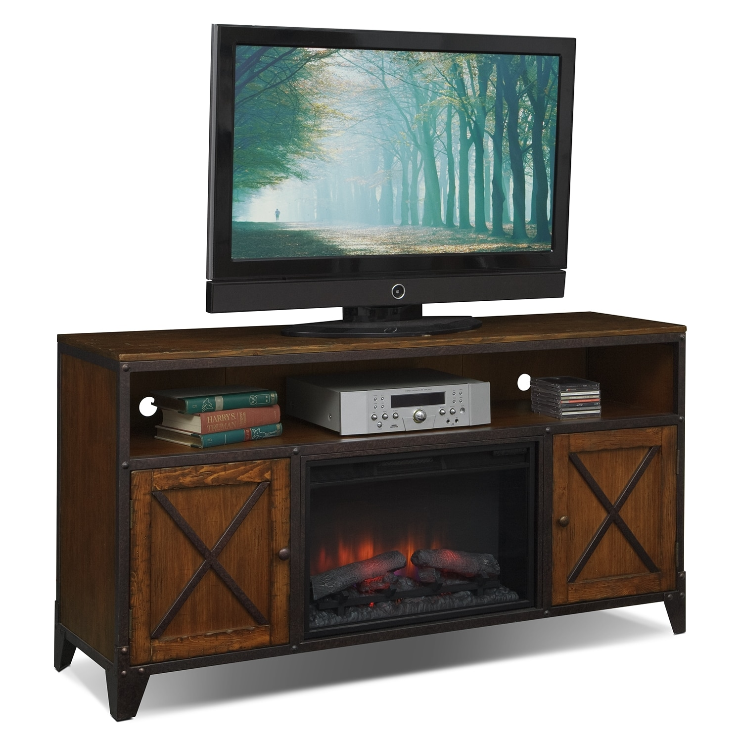 Entertainment Furniture - Shortline Fireplace TV Stand with Traditional Insert - Distressed Pine