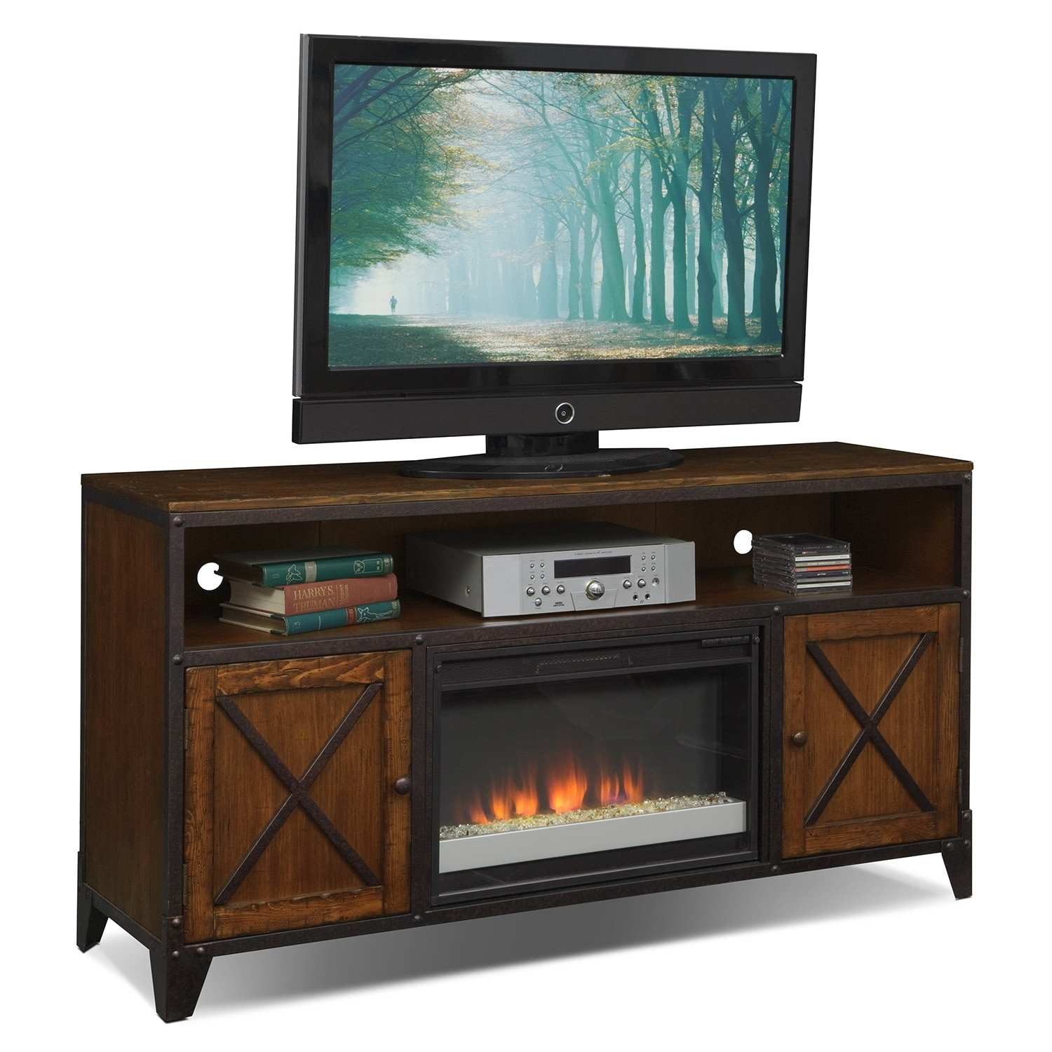 Entertainment Furniture - Shortline Fireplace TV Stand with Contemporary Insert - Distressed Pine