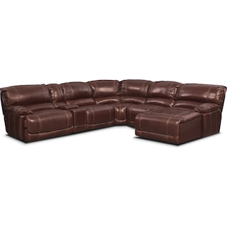 St. Malo 6-Piece Power Reclining Sectional with Right-Facing Chaise - Burgundy