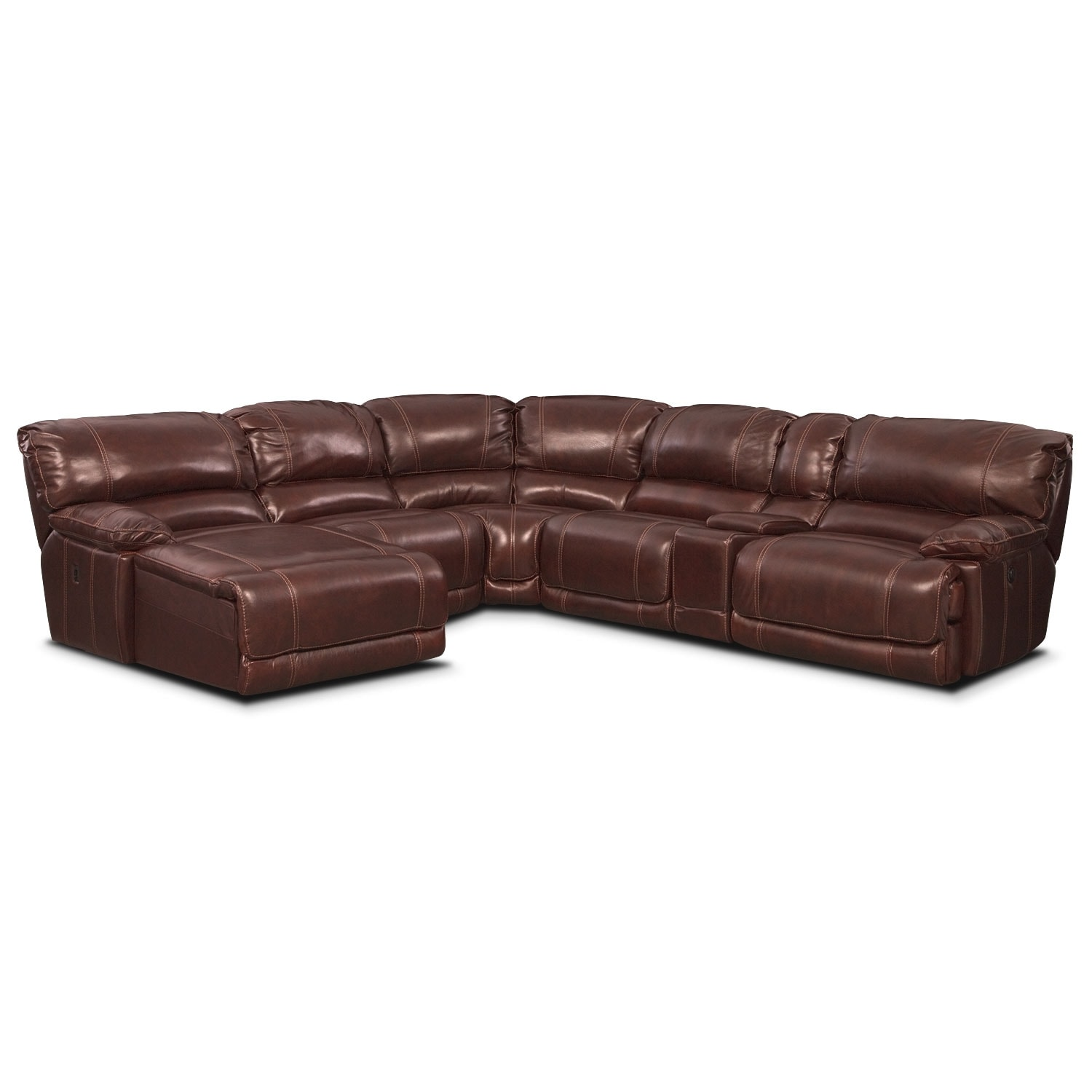Power Reclining Sectional With Right Press Back Chaise By: St. Malo 6-Piece Power Reclining Sectional With Left