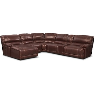 St. Malo 6-Piece Power Reclining Sectional with Left-Facing Chaise - Burgundy