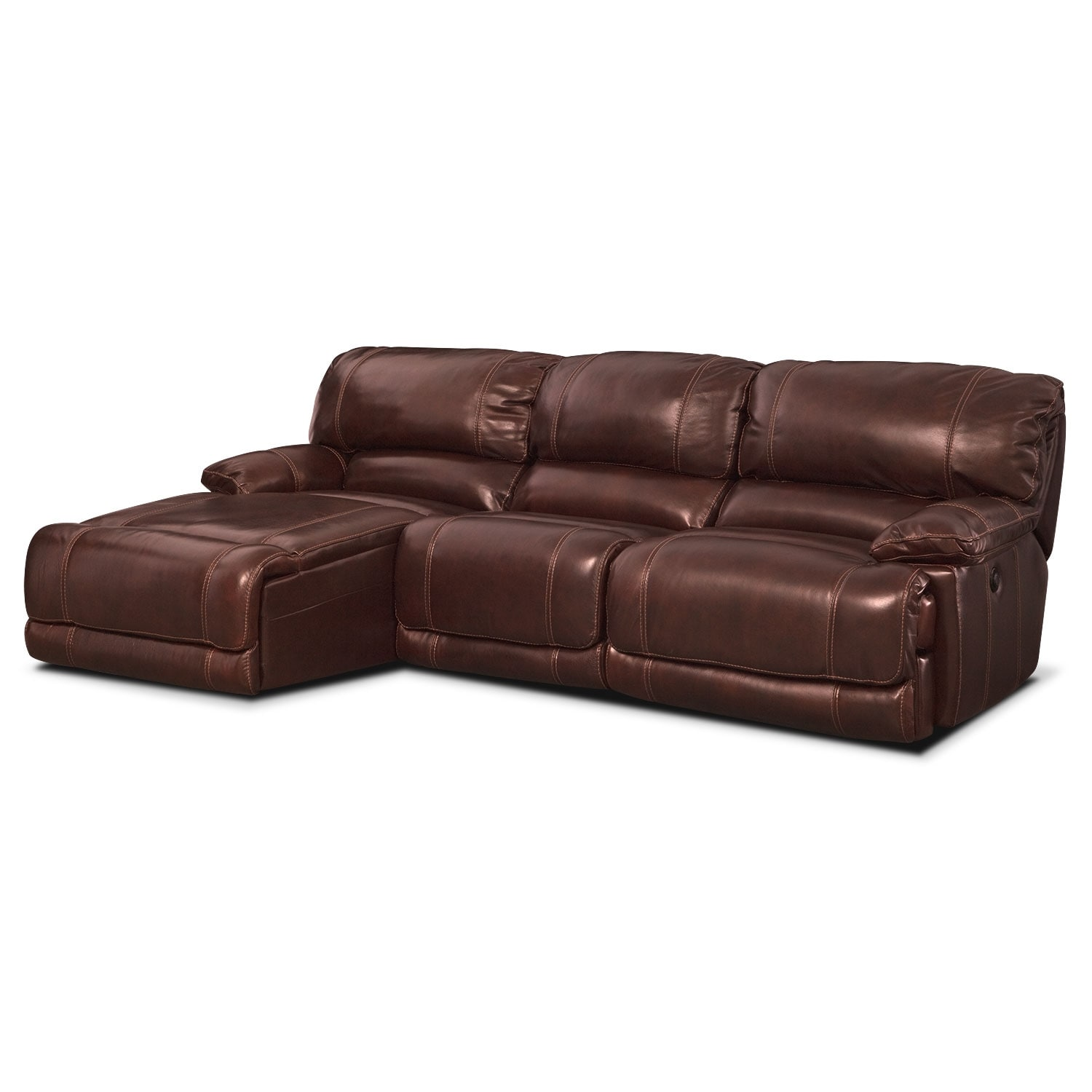 Living Room Furniture - St. Malo 3-Piece Power Reclining Sectional with Left-Facing Chaise - Burgundy