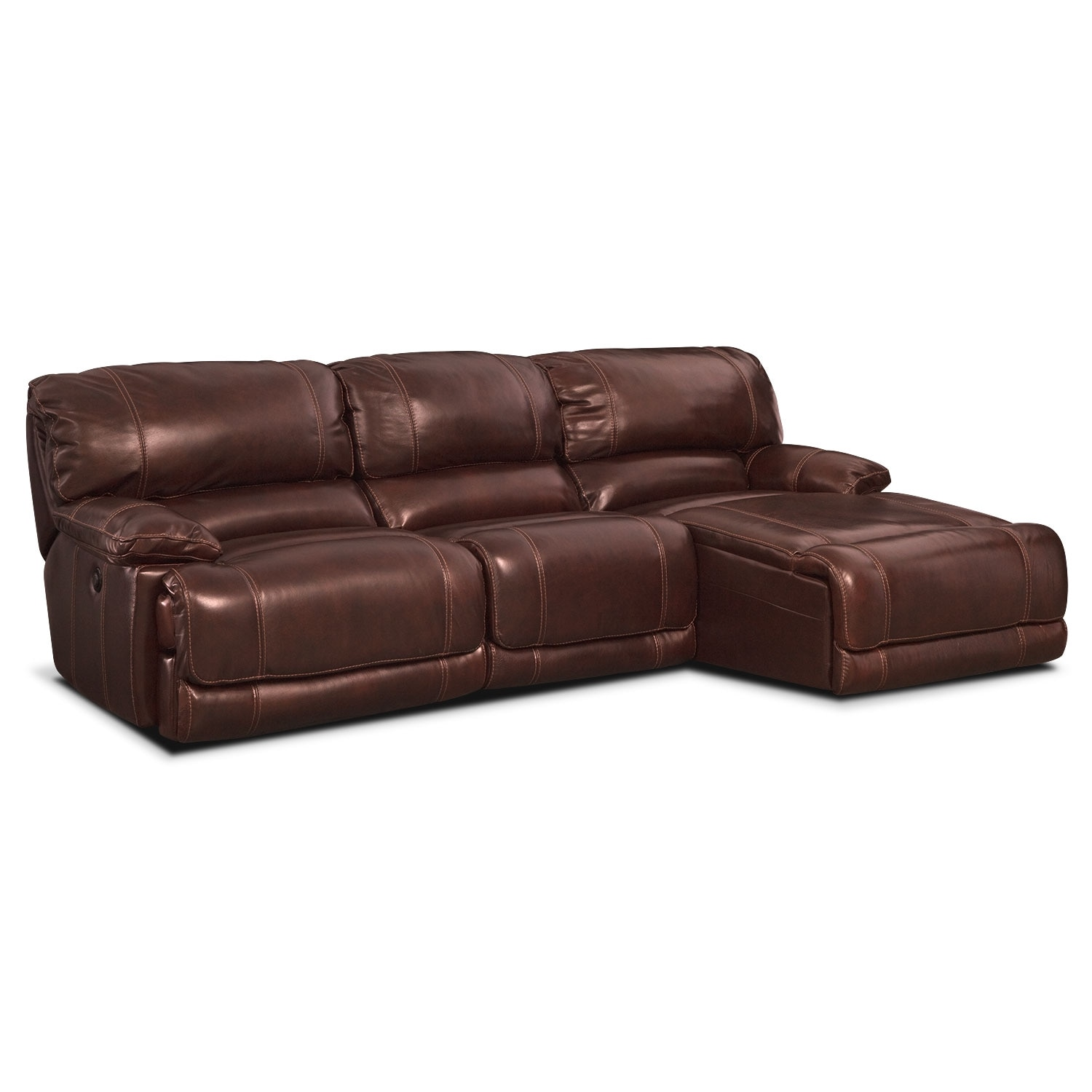 St. Malo 3-Piece Power Reclining Sectional with  Right-Facing Chaise - Burgundy