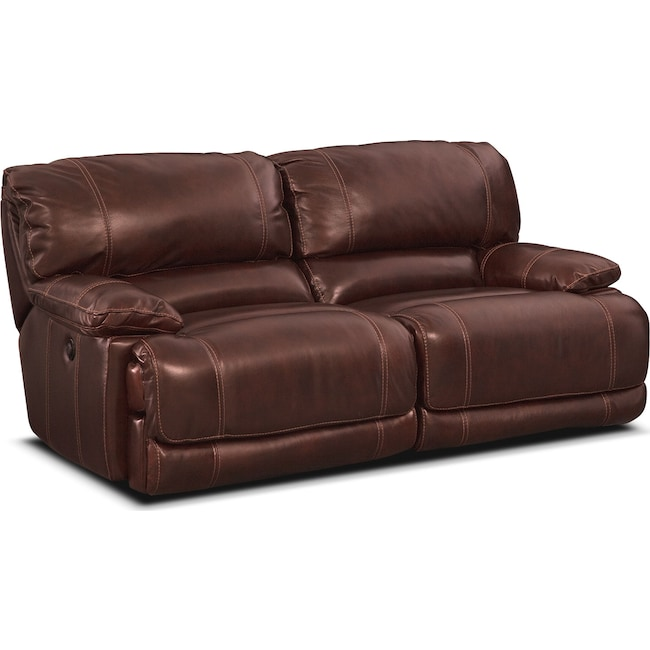 Living Room Furniture - St. Malo Power Reclining Sofa - Burgundy
