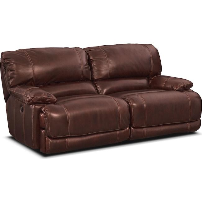 Living Room Furniture - St. Malo Power Reclining Sofa - Burgundy