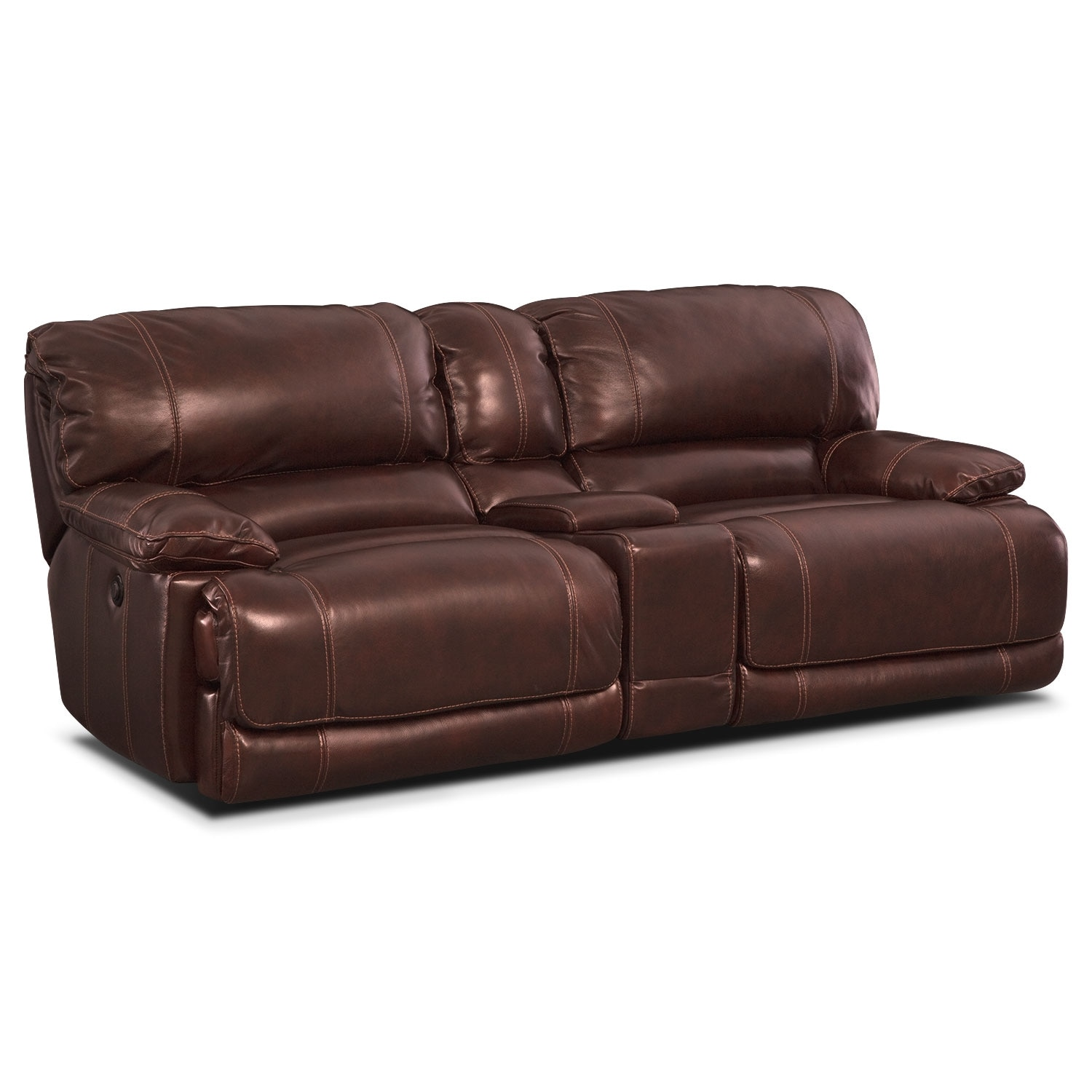 St. Malo Power Reclining Sofa with Console - Burgundy