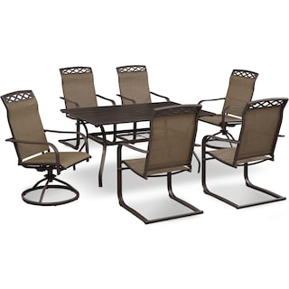 Terrace Table, 4 Spring Chairs and 2 Swivel Rockers - Brown