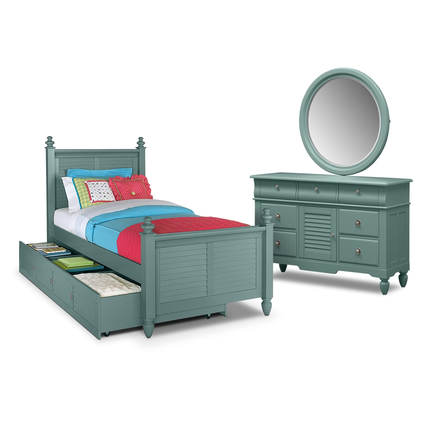 Kids Furniture - Seaside 6-Piece Twin Bedroom Set with Trundle - Blue