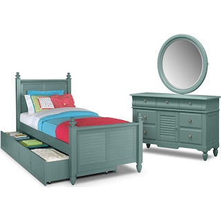 Seaside 6-Piece Full Bedroom Set with Trundle - Blue