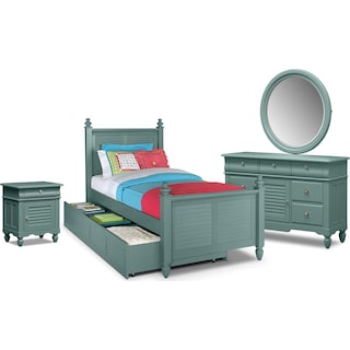 Seaside 7-Piece Twin Bedroom Set with Trundle - Blue