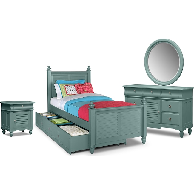 Kids Furniture - Seaside 7-Piece Twin Bedroom Set with Trundle - Blue