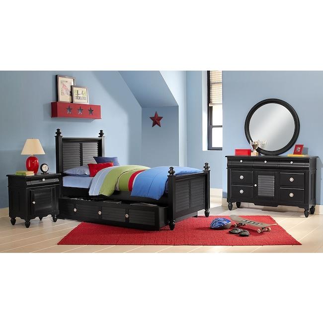 Kids Furniture - Seaside 7-Piece Twin Bedroom Set with Trundle - Black