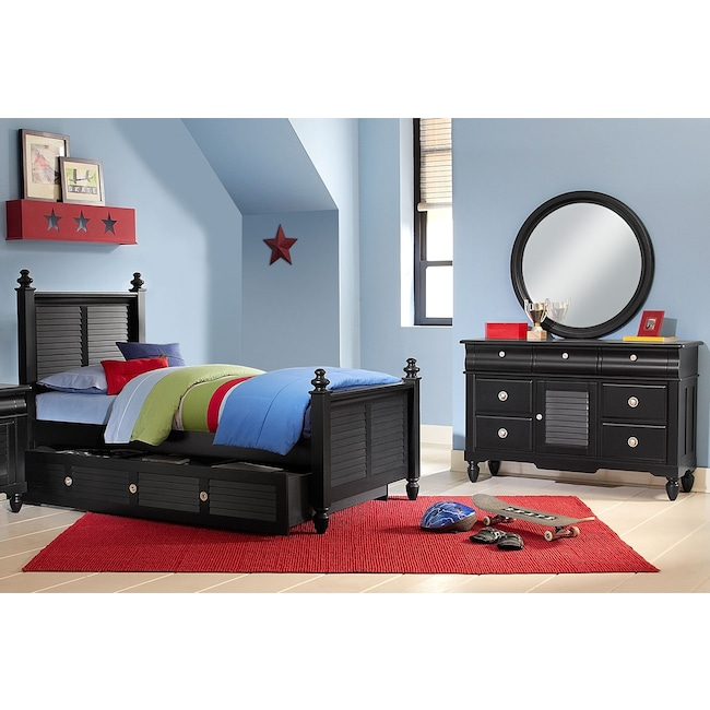 Kids Furniture - Seaside 6-Piece Twin Bedroom Set with Twin Trundle - Black