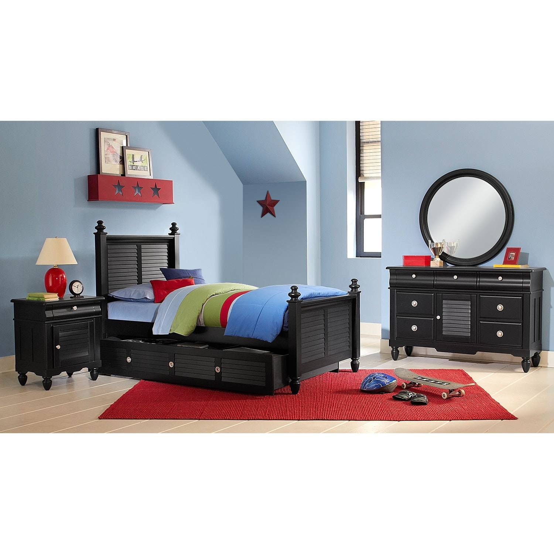 Seaside 7-Piece Full Bedroom Set with Trundle - Black