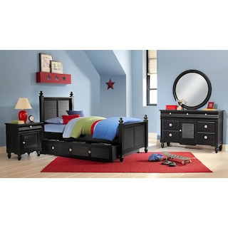 Seaside 7-Piece Full Bedroom Set with Trundle - Black