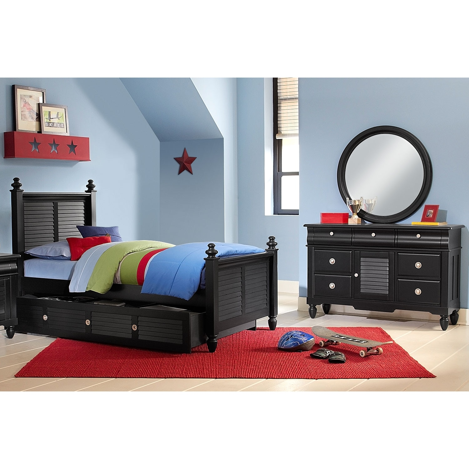 Kids Furniture - Seaside Black 6 Pc. Full Bedroom with Trundle